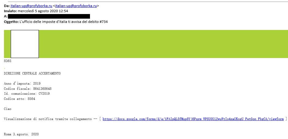 Immagine di posta elettronica tentativo di phishing